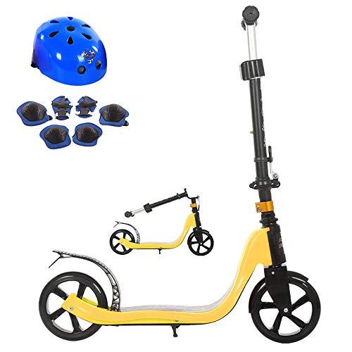 FAFEGVCFDS Faltbares Design 4-Fach höhenverstellbar für Kinder ab 5 Jahren 2-Rad Tretroller (gelb) - Lager Trittbrett