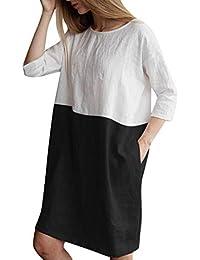 Vestidos Mujer Casual,Modaworld ❤ Vestido Suelto de Lino algodón con Mangas DE 1