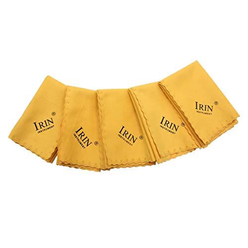 perfk Mikrofasertücher Reinigungstücher weichen Tuch Für Musikinstrument Gitarre Violine Klavier Klarinette Trompete Sax Universal - Gelb