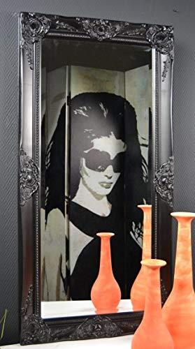 Livitat® Wandspiegel Badspiegel Spiegel barock antik Schwarz Landhaus Rokoko (100 x 50 cm)