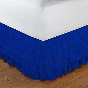 600tc 100% ägyptische Baumwolle elegantes Finish 1Stück Multi Rüschen Bettvolant massiv (Drop Länge: 53,3cm), baumwolle, Royal Blue Solid, UK_Single_Long