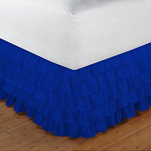 600TC 100% cotone egiziano, finitura elegante 1pcs multi Ruffle Giroletto A Goccia (lunghezza: 17inches), Cotone, Elephant Grey Solid, UK_Small_Double Royal Blue Solid