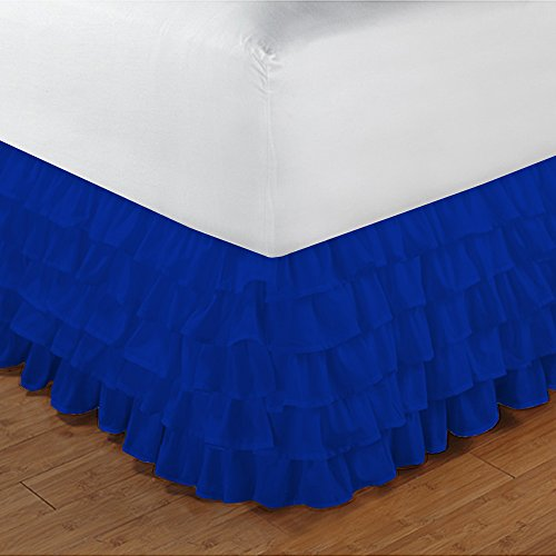 500TC 100% cotone egiziano, finitura elegante 1PCS multi Ruffle Bedskirt Solid (Drop length: 35,6cm), Cotone, Sage Solid, Euro_Super_King_Extra_Long Royal Blue Solid