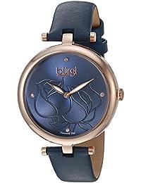 Burgi Reloj de cuarzo para mujer con correa de piel azul Esfera Analógica Pantalla y azul bur151bu