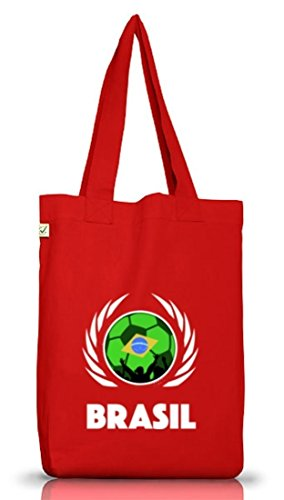 Brasil Wappen Fussball WM Fanfest Gruppen Jutebeutel Stoffbeutel Earth Positive Fußball Brasilien Red