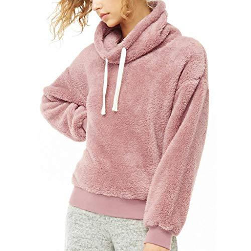 Tianwlio Damen Winter Langarmshirt Hoodie Pullover Mode Künstliche Wolle T-Shirt Blusen Tops Sweatshirt Rosa L