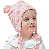 Arcweg Invierno Sombreros para Niñas Algodón Gorras de Punto Polar Gruesa Caliente Suave Cómodo Orejeras Proteger Orejas Lindos Diseño Animales Pequeños Conejos Rosas