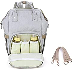 Diaper Backpack for Mommy by House of Quirk Waterproof Nappy Bag with Stroller Hooks Rucksack Lightweight/Large Capacity/Durable - Grey