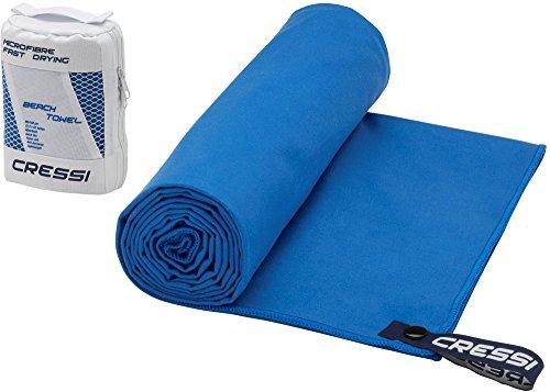 Cressi Schnelltrockentuch, Mikrofaser Unisex-Sporthandtuch für Erwachsene, Blau, 60 x 120 cm