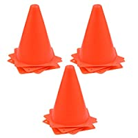 BUYGOO 12Pcs Sport Training Cones for Football 18cm Play Cones for Kids Orange Traffic Cones Marker Durable Plastic Training Cones for Games, Sports, Dog Training