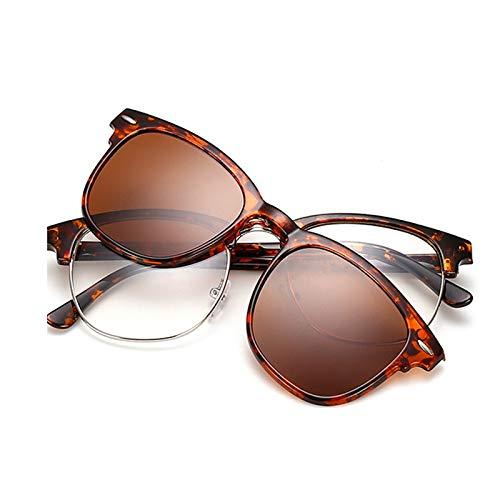 Yangjing-hl Retro Männer und Frauen Gezeiten Flach Spiegel Ultra Light Magnet Sonnenbrille Clip Spiegel EIN Spiegel Double Use Leopard Frame Tea