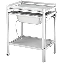 Ateliers T4 Table à Langer à Roulettes avec Baignoire Laqué Blanc