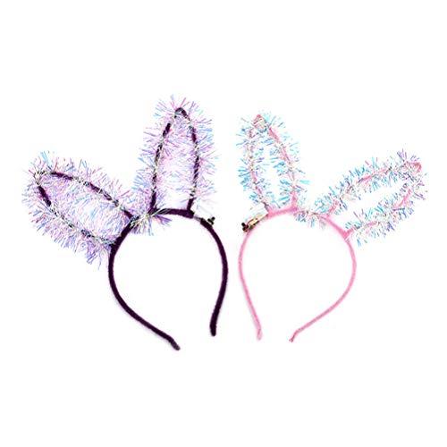 Kostüm Niedlichen Bunny - Lurrose 8 Stücke LED Hasenohren Haarreif Ohren Stirnband Halloween Haarband Mädchen Kopfschmuck für Kinder Damen Maskerade Karneval Party Bunny Kostüm Dekoration (mischfarbe)