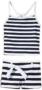 Snapper Rock Girl UPF 50+ UV Sun Protection Tankini Tank Top & Short Pants Swimsuit For Kids & Teens Navy/White 1-2 years, 86-92cm