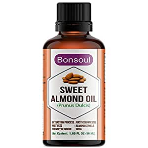 BONSOUL 100% Pure First Cold Pressed & Unrefined Sweet Almond Oil (50ML)