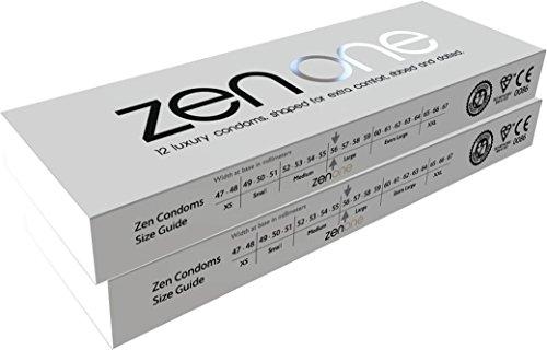 24Luxus Gerippte & Gepunktete Kondome. Extra Schmierung–Zen Kondome (2Packungen)