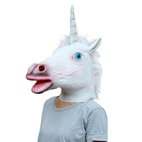 Einhorn Kopf Latex Maske für Kostüm Fancy Dress Party (Billig Adult Spiderman Kostüm)