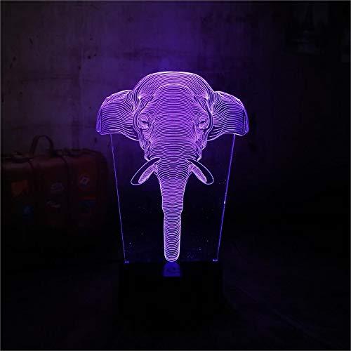 3D LED RGB állati elefánt éjszakai fények színes asztal asztal hálószoba lámpa...