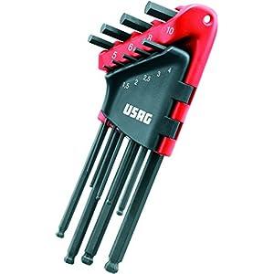USAG 280 LTS/S9 - Serie di 9 chiavi a brugola maschio esagonale lunghe testa sferica 280084 41CnPpsuB4L. SS300