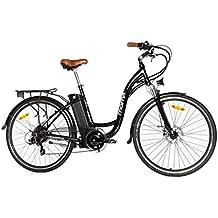 """Moma Bikes Bicicleta Electrica Paseo SHIMANO 7 vel. Aluminio, ruedas de 28"""", Bateria Ion-Litio 36V 16Ah"""