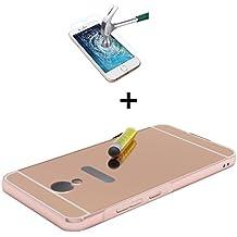 Funda Espejo Aluminio Metal Carcasa para Meizu M5 Color Rosado + Vidrio Templado