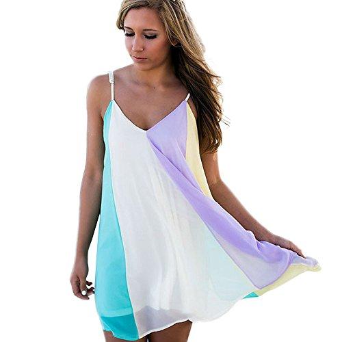 TIREOW Women Dresses, Women Beachwear Swimwear Bikini Cover up Ladies Rainbow Colorful Summer Dresses