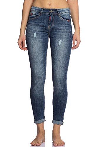 Abbino CG004 Jeans Donna - Multiplo Colori - Mezza Stagione Transizione Primavera Estate Dinamico Tenerezza Giovane Slim Fit Casual Libero Skinny Comodo Slim Eleganti Regular Modello Blu Jeans (Art. 3D-998)