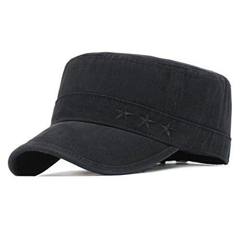 Kuyou Vintage Schirmmütze Baseball Kappe Army Military Cap Mütze (Schwarz)
