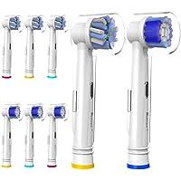 8 pz (4+4) Testine di Ricambio per Spazzolino Elettrico Oral B,Crossaction,Precision Clean,con Coperchio,Pienamente Compatibile con Oral B Vitality