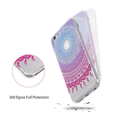 iPhone 6/6S Hülle, E-Lush TPU Soft Silikon Tasche Transparent Schale Clear Klar Hanytasche für Apple iPhone 6/6S (4.7 Zoll) Durchsichtig Rückschale Ultra Slim Thin Dünne Schutzhülle Weiche Flexibel Ha Mandala Tribal Violet