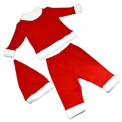 OZYOL Baby Weihnachtsmann Kostüm 3-teiliges Set mit Weihnachts-Mütze Mantel und Hose Nikolaus Anzug Weihnachten für Mädchen und Jungen Kleinkinder 3-18 Monate (Rot, 12M (80))