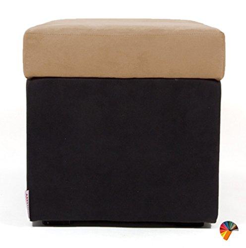 NEUF!!! Arketicom PANDORA Pouf de Rangement Cube CONTAINER Puff Repose-pieds Rembourré Banc Design Tissu Moderne MICROFIBRE Fabriqué à la Main en Italie, Structure bois Massif, Assis PU Coffre Box (Camel, 42 x 42 x 42h)