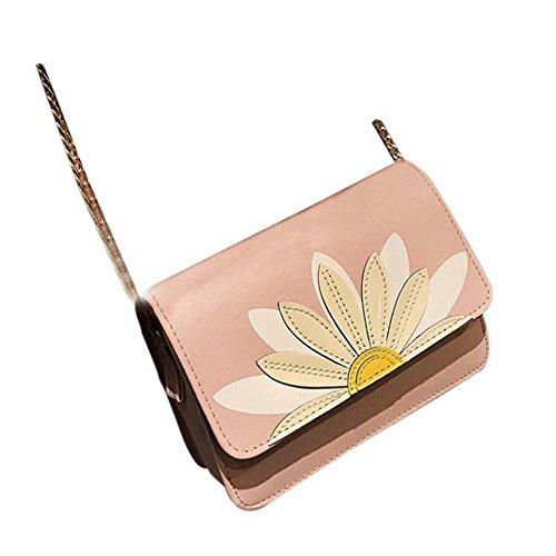 Donne Pu Pelle Messenger Borse Lotus Crossbody Spalla Borse Borsetta Piccolo Corpo Borse di Kangrunmy Rosa