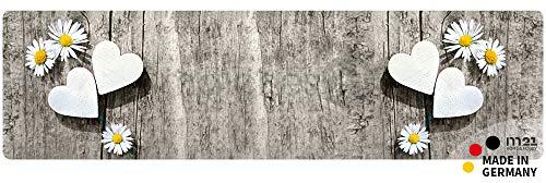 matches21 Küchenläufer Teppichläufer Teppich Läufer Gänseblümchen & Herzen auf Holz 50x180x0,4 cm maschinenwaschbar