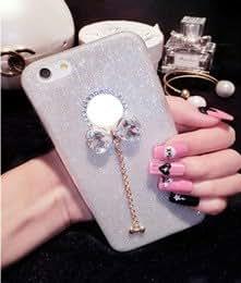 ARNAV Cute Luxury Glitter Diamond Rhinestone Butterfly Bow knot Case for iPhone 5 5s-Silver