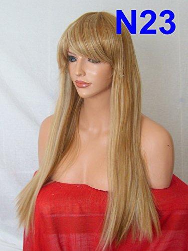 Parti perruque Fashion longue frange droite Blunt naturel résistant à la chaleur cheveux synthétiques perruque marron clair blond perruque intégrale rectangulaires