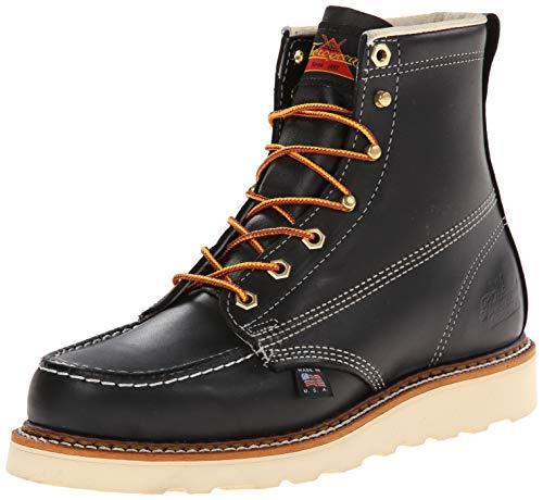 Thorogood Mens 6'' Moc Toe Wedge 814-6201 Black Leather Boots 46 EU Black Leather Moc Toe
