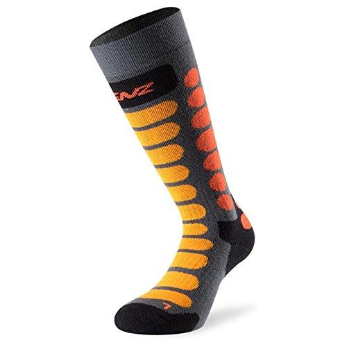 Lenz Skiing Junior Jugend Socken Grau/Orange S (Socke Mädchen Jugend)