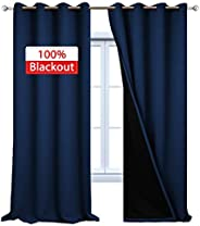 Yakamok 100% Blackout Curtains, Thermal Insulated Soundproof Curtain Panels, Full Light Blocking Drapes with Black Liner for