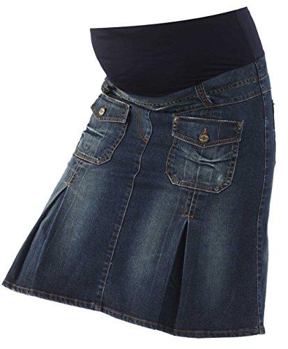 Christoff Schwangerschaftsrock Umstandsrock Jeans-Rock - Taschen Falten Ziernähte - hoher Bund - A-Form - 413/88/8 - blau - Gr. L (Bleistift-rock Detail, Naht)