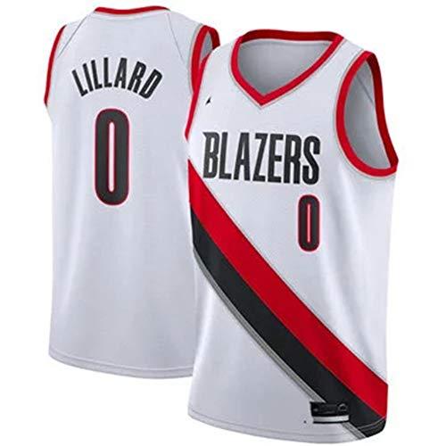 WAZ Basketball Trikot NBA Fans City Edition Trailblazer # 0 Lillard Basketball T-Shirt Herren Baumwolle Doppelseitiges ÄRmelloses Shirt,B,S