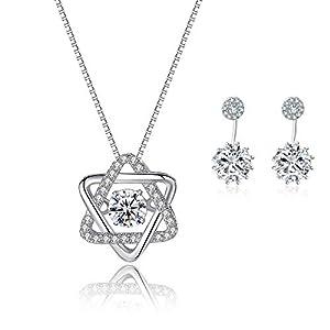 Caiery Damen Schmuck Set Ohrringe Halskette 925 Sterling Silber mit Weiß Zirkonia für Mutter Frauen Freundin Frau Tochter