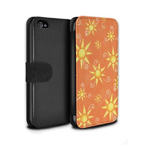 Stuff4 Coque/Etui/Housse Cuir PU Case/Cover pour Apple iPhone 4/4S / Turquoise/Rouge Design / Motif Soleil Collection Orange/Jaune