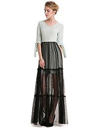 GWELL Fashion Damen Schwarz Spitze Maxikleid Sommer Frühling Swing Kleider  Abendkleid Cocktailkleid ba26045a34