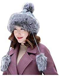 CJC Sombreros Mongol Invierno Mujer Ruso Cosaco Pompón Unisexo Trampero Gorra (Color : Gray, Tamaño : 54-58CM)