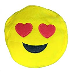 A-Mart Soft toy sling bag smiley emoji heart yellow for kids girls 8 inch