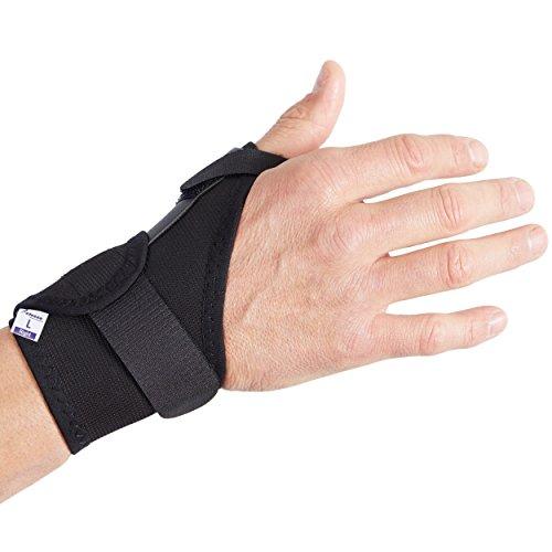 Actesso Orthèse de pouce médicale élastique Attelle pouce réduit la douleur causée par les entorses, tendinite et opérations chirurgicales - droit ou gauche disponible (Petite Droite, Noir)