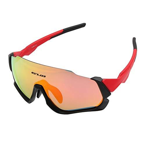 Polarisierte Reitbrille für Herren und Damen Outdoor Sports Fahrradspiegel mit Myopiebrille Anti-Fog rot