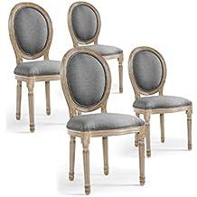INTENSEDECO Lot De 4 Chaises Medaillon Louis XVI Tissu Gris