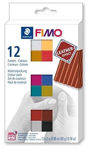 STAEDTLER FIMO Leather-Effect, ofenhärtende Modelliermasse für kreative Objekte im Leber-Look, lederähnliche Optik und Haptik, Set mit 12 Farber, 8013 C12-2